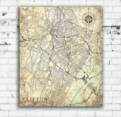CLIFTON Canvas Print New Jersey NJ Clifton City Vintage map Wall Art poster map Vintage retro old antique New Jersey Clifton NJ United State