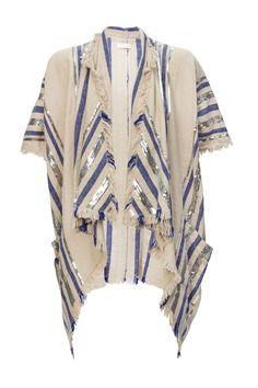 sass & bide / 3/4 sleeve jacket / $450.00  vertical silver sequin & red herringbone stripes / frayed edges