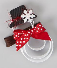 White Let It Snowman Clip by Hair Flair on #zulily