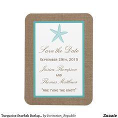 Turquoise Starfish Burlap Beach Wedding Collection