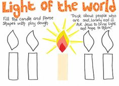 Flame: Creative Children's Ministry: Light of the World Play Dough Mat
