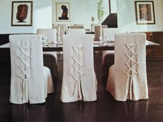 Slipcovers Dining Room Chairs Details Laced Ties