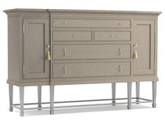 Think of this sideboard as command central at your next soirée. A great look with abundant storage. Modern gray finish cabinet set on a silver-finished metal base.