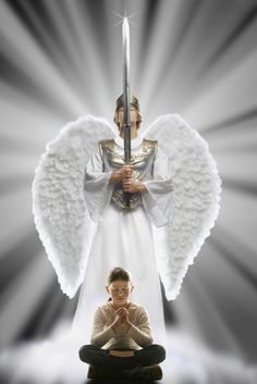 Prophetic are warrior angel guarding over girl praying and reading her Bible. God is Protector~ The LORD is alive! My protector is praiseworthy! The God who delivers me is exalted as king! Angel Warrior, Prayer Warrior, Christian Warrior, Christian Art, Pictures Of Jesus Christ, Jesus Art, God Jesus, Prophetic Art, Angel Pictures