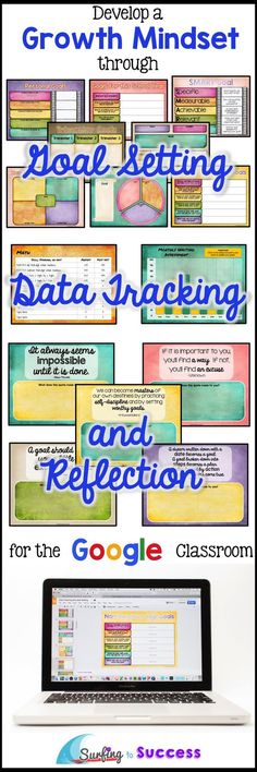 How do you help students develop a growth mindset? Give them the opportunity to set goals, track their data growth, & reflect. This paperless customizable technology resource for kids gives students a digital journal. The three main sections of this inter Data Binders, Growth Mindset Activities, Student Data, Student Success, Student Teacher, Teacher Stuff, Elementary Teacher, Data Tracking, Google Classroom