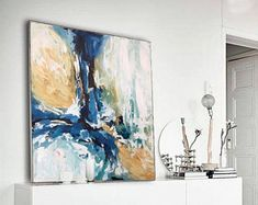 NEW: Original Abstract Painting + FREE SHIPPING - 48 Inches Beautiful Wall Art - Ready To Hang Canvas - Blue, Navy, White Textured Painting