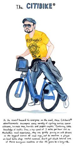Série d'illustrations sur les cyclistes urbains de Kurt McRobert | Vélo ville & vélo urbain sur Le Vélo Urbain.com
