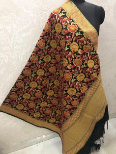 "Price:- Rs 810 + SHIP FREE MULTI COLOR BANARASI SILK DUPATTA FUSION 2021 Dupatta Fabric details: Pure banarasi Patola silk jacquard dupatta multi-color wiving dupatta with Resham handmade tread less cute 2.50 Full (wd 44"") #gfseries Silk Dupatta, 100 Pure, Shawls, Boho Shorts, Ship, Pure Products, Stylish, Cute, Fabric"