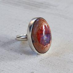 Mexican Fire Opal Ring Purple Opal Gemstone by GLAMROCKSdesigns