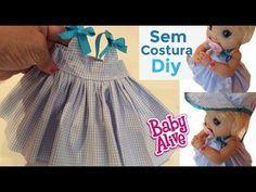 Como fazer VESTIDO FRENTE ÚNICA para BABY ALIVE [Diy] FAÇA VOCÊ MESMO - YouTube