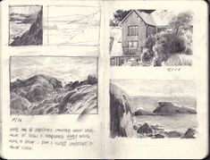 Pages developing first sketches to composition studies Pencil Sketches Landscape, Landscape Drawings, Cool Landscapes, Drawing Sketches, Travel Sketchbook, Artist Sketchbook, Sketchbook Drawings, Illustrations, Illustration Art