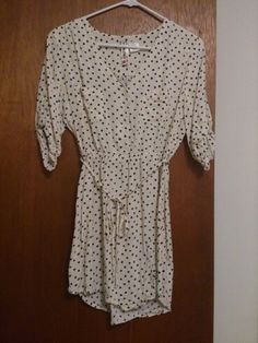 "Wet Seal polka-dotted shirt dress. Size M. EUC, worn only twice and washed. Super soft and comfortable fabric. 20"" flat bust, 12"" elastic waist (with lots of stretch), 32"" shoulder to hem in front - back is 1"" longer. 20 glitters shipped."