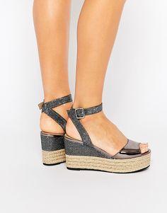 Dune Kalmia Black Wedge Espadrille Sandals