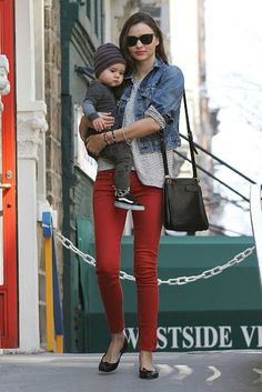 Love the red skinnies with the striped shirt & flats. Not sure about the jacket though