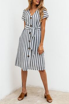 Women's Button Down Dress - Summer Short Sleeve Belted Striped Swing Midi Dress with Pockets Button Down Shirt Dress, V Neck Midi Dress, Fall Fashion Outfits, Online Dress Shopping, Casual Dresses, Summer Dresses, Chic Dress, Striped Dress, Dress Black