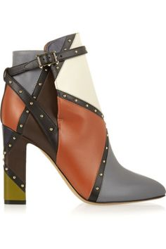 Valentino | Studded color-block leather ankle boots | NET-A-PORTER.COM