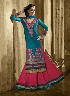 Magenta Indian velvet Wedding Lehnga with Long Teal Blue Choli  B15347