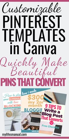 Pinterest Templates in Canva For Busy Bloggers. Want to QUICKLY create beautiful Pinterest pins that get clicked and shared? Grab the Pinterest templates that will help you make lovely pins in just minutes. Save time making Pinterest graphics while boosting traffic to your website.  16 customizable beautiful Pinterest Templates. 600x900 / 600x1260 pin sizes, font and color combinations and power words for your headlines. Grab the Pinterest templates. #Pinterestemplates