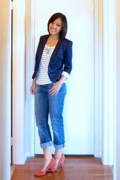 boyfriend jeans, striped tee, blue blazer