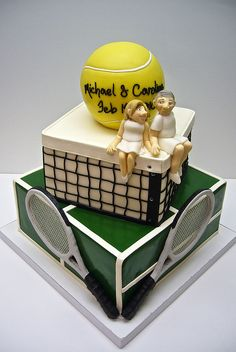#tennis #cake #wimbledon for your cake making and decorating needs visit www.weddingacrylics.co.uk