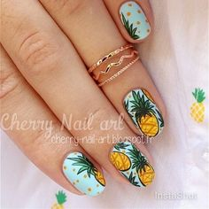 Pineapple Nails by Instagrammer @cherrynailart