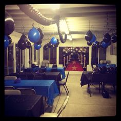 Graduation decorations with hanging balloons