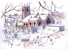 St Peters church at Thorner in West Yorkshire ~ sketch ~ John Edwards
