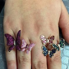 The kids are off to camp! Who has butterflies? SHOP NOW at www.jenkdesignsny.com #rings #sapphires #color #diamonds #butterflies #love #summer #jenk #model #creds @mayatsadik