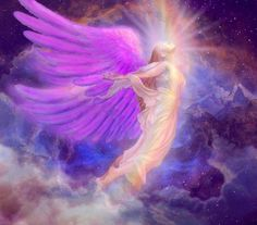 Purple winged rainbow angel