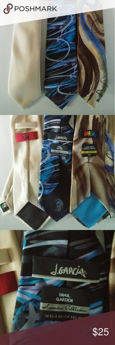 2 Jerry Garcia Ties/ 1 Brand Q 100% Silk Excellent Condition! 2 Jerry Garcia Ties, One a signature collection. And 1 Brand Q tie made in Italy. All 100% silk Jerry Garcia Accessories Ties
