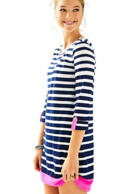 Shhhh...don't tell anyone that this beautiful striped t-shirt dress is also made in a decadently comfortable pima cotton jersey! The engineered print lengthens  and leans, while the easy A-line fit skims the figure just like your favorite   dress.