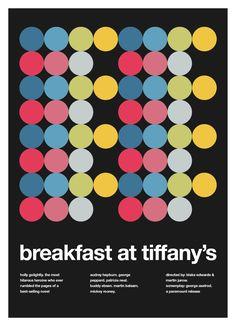 adventures in helvetica/swiss design. today: breakfast at tiffany's movie poster in #swiss #helvetica design.  #midcentury #redesign