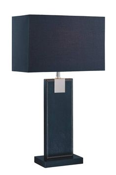 Lite Source LS-21282BLK/BLK Remigio 1 Light Black Leather Table Lamp
