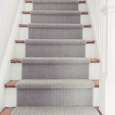 """A classic herringbone pattern, Masland's """"Distinguished"""" style makes a beautiful stair Grey Stair Carpet, Staircase Carpet Runner, Patterned Stair Carpet, Stairway Carpet, Carpet Treads For Stairs, Carpet Runners For Stairs, Laminate Stairs, Wood Stairs, Painted Stairs"""