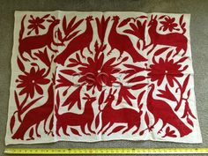 Mexican Red Otomi Wall Hanging Hand Embroidered Folk Art Alebrijes Flowers   eBay
