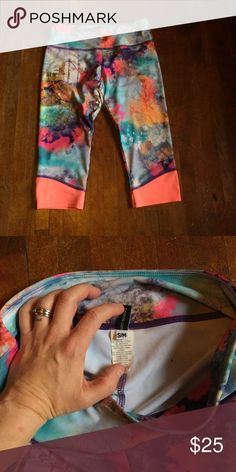Onzie crops, S/M Onzie Crops, size S/M, EUC. Bright pink with forest & trees design. Super cute! These are mid rise. :) (Bundle to save! My closet is BOGO 50% off, or Buy 3 get 25% off total!) Electric Yoga Pants Ankle & Cropped
