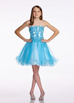 Lexie junior misses Mon Cheri TW11657 will make your princes the belle of the ball. Perfect for a daddy daughter dance, eighth grade formal, bat mitzvah, or any old party this strapless A-Line dress is just too cute for words.