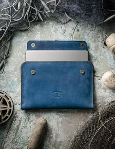 Leather MacBook Case   Ocean Blue