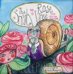 Book illustration for 'The Snail and the Rose Tree' by Hans Christian Andersen by Rachelle Panagarry. watercolor, indian inks http://www.rachellepanagarry.com