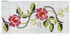 Artes da Nique: Gráficos de ponto cruz - barrado flores                                                                                                                                                                                 Mais