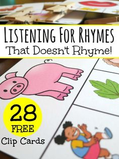 Listening for Rhymes with a Set of 28 FREE Clip Cards - This Reading Mama Rhyming Activities, Kindergarten Literacy, Language Activities, Learning Activities, Literacy Centers, Literacy Stations, Rhyming Worksheet, Preschool Worksheets, Preschool Ideas