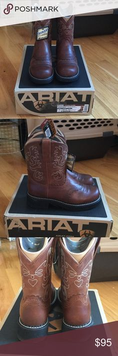 NWT brown Ariat Fatbaby Saddle cowgirl Boots I bought these from Ariat trying to make myself wear shorter boots, but I just love my tall ones. They're completely new in the box and were only worn to be tried on. They're great little boots, just not my style Ariat Shoes