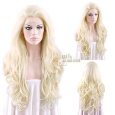 "Long Curly Wavy 26"" Golden Blonde Mixed Light Blonde Lace Front Wig"