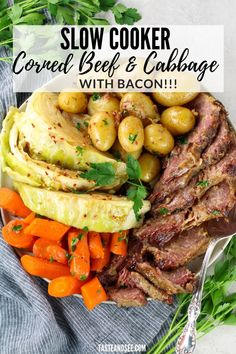 This Slow Cooker Corned Beef and Cabbage with Bacon is the tastiest, most tender corned beef you've ever made! With cabbage, carrots, and potatoes. #TasteAndSee Slow Cooker Corned Beef, Corned Beef Brisket, Slow Cooker Recipes, Crockpot Recipes, Bacon Recipes, Real Food Recipes, Potato Recipes, Corn Beef And Cabbage, Picnic Ideas
