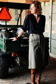 Wearing Dolce and Gabbana wool a-line skirt, vintage silk blouse and old Chloe boots.