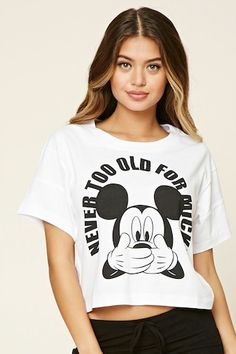 "A knit PJ tee featuring a ""Never Too Old For Mickey"" graphic, a round neckline, short sleeves, and a boxy silhouette. Cute Disney Outfits, Disney Pajamas, Cute Outfits, Disney Clothes, Style Disney, Mickey Mouse Outfit, Pijamas Women, Disneyland Shirts, Super Hero Outfits"