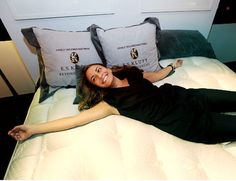 Marissa Vitagliano lounges on plush E.S. Kluft & Co. mattress, on sale at Bloomingdale's for $33,000.