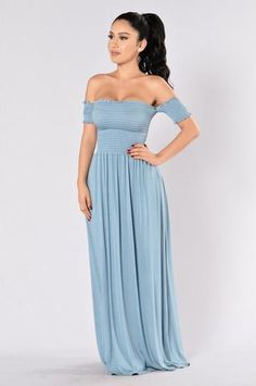 - Available in Mauve, Mocha, Steel Blue and Dark Mauve - Off the Shoulder - Smocked Bodice - Maxi Length - 95% Rayon, 5% Spandex