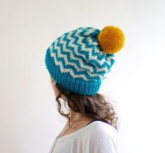 CLEARANCE Slouchy Beanie Chevron Knit Hat Pom by SourpussKnits