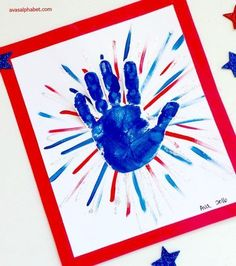 Handprint Fireworks - Gather up the kids and make this darling patriotic craft project. Perfect for Memorial Day or the 4th of July! Click through for full tutorial.
